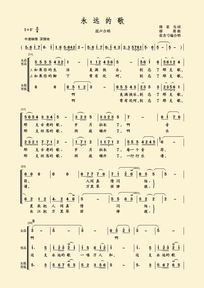 永恒的旋律歌词谱子-永远的歌 简谱资源 制谱论坛 谱谱风 简谱 软件 Powered by Discuz