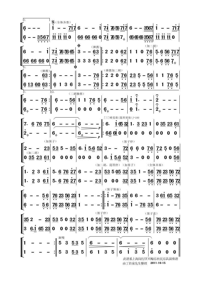 习作 民乐合奏曲谱 红楼梦 使用交流 制谱论坛 谱谱风 简谱 软件